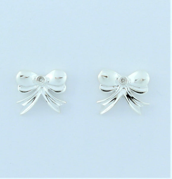 Sterling Silver Bow Earrings with 1mm Diamond
