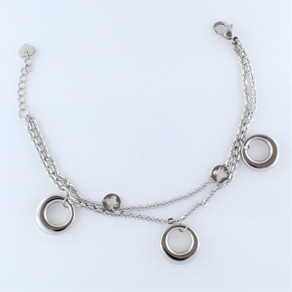 Stainless Steel 3x Circle Charm Bracelet