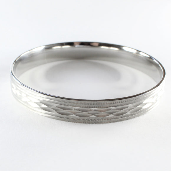 Stainless Steel Diamond Cut Bangle