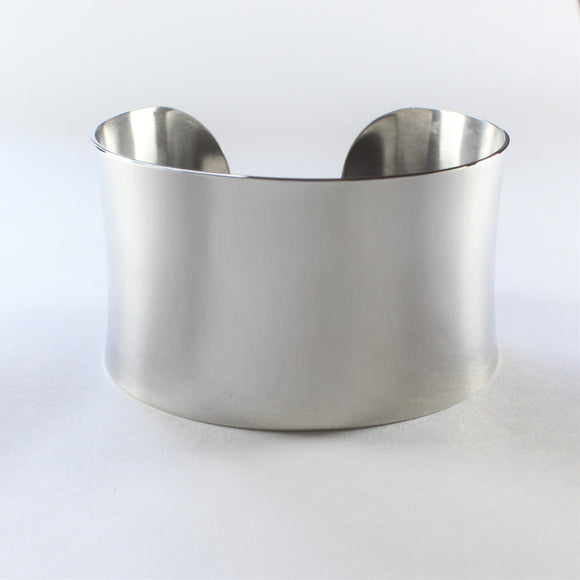Stainless Steel Plain Polished Wide Cuff Bangle