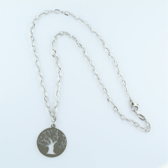 Stainless Steel Tree Of Life Necklace 50cm