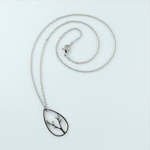 Stainless Steel Chain with Tear Drop Pendant 45cm
