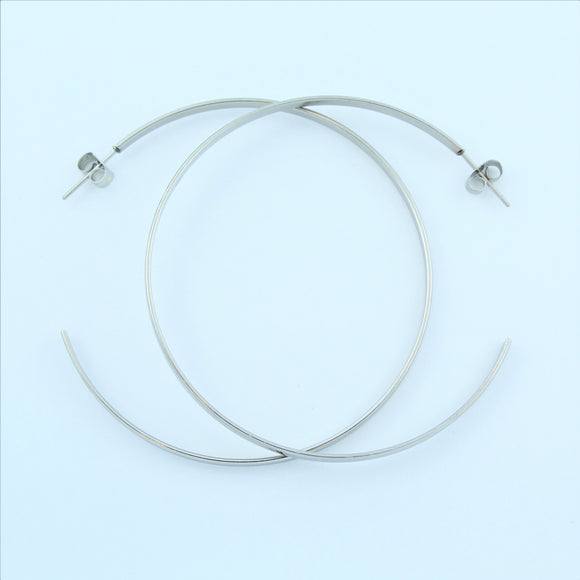 Stainless Steel 60mm Hoop Earrings