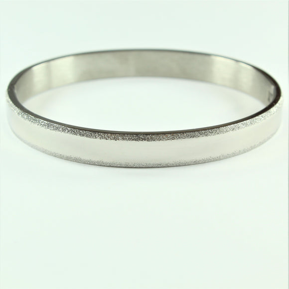 Stainless Steel Sandblast Striped Hinged Bangle
