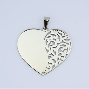 Stainless Steel Filigree Heart Pendant