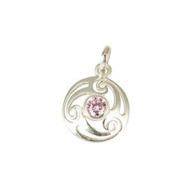 Sterling Silver Celtic Swirl with Pink CZ Pendant