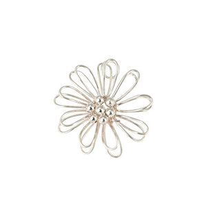 Sterling Silver 3D Wire Flower Pendant