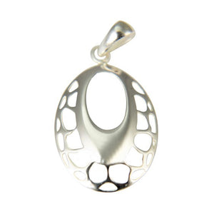 Sterling Silver Cut Out Oval Drop Pendant