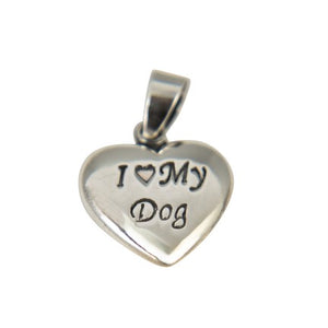 Sterling Silver I Love My Dog Pendant