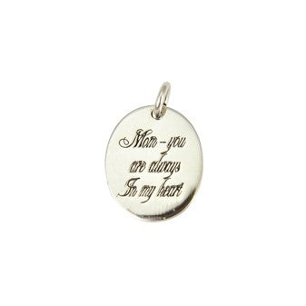 Sterling Silver Oval ' Mom-You Are Always In My Heart ' Pendant