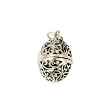 Sterling Silver Filigree Egg Locket Pendant