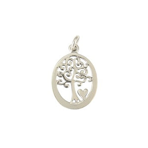 Sterling Silver Oval Tree Of Life With Heart Pendant