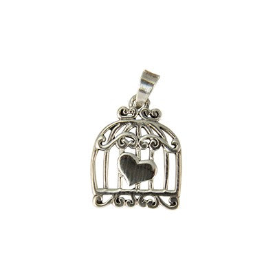 Sterling Silver Flat Bird Cage Pendant