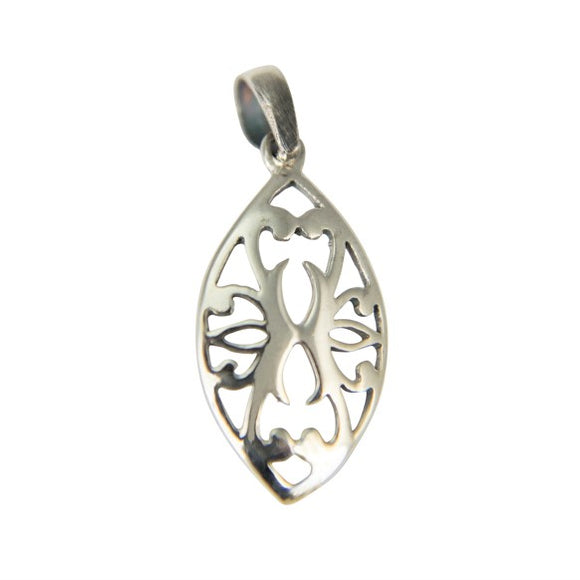 Sterling Silver Marquise Shield Pendant