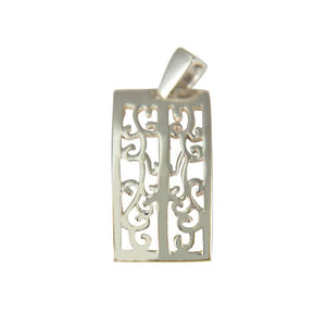Sterling Silver Swirly Rectangle Pendant