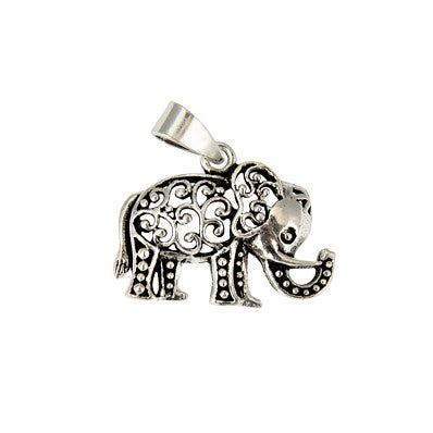 Sterling Silver Swirly Elephant Pendant