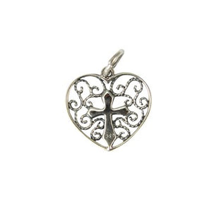 Sterling Silver Heart With Cross Pendant