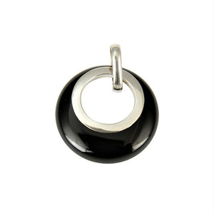 Sterling Silver Black Agate Circle Pendant