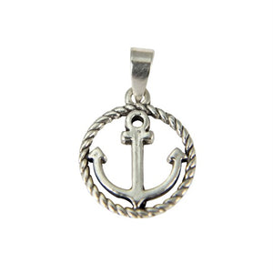 Sterling Silver Anchor in Circle Pendant