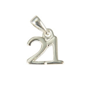 Sterling Silver Small 21 Pendant