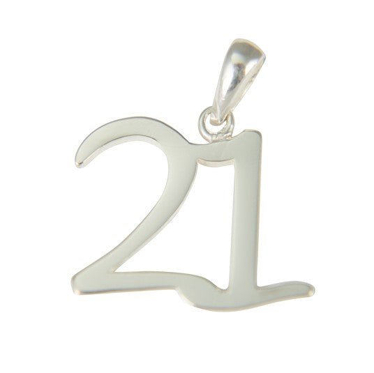 Sterling Silver Large 21 Pendant