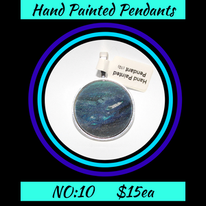 Hand Painted Multi Blue Cabochon Pendant  NO:10 + 1x Black Waxed Cord
