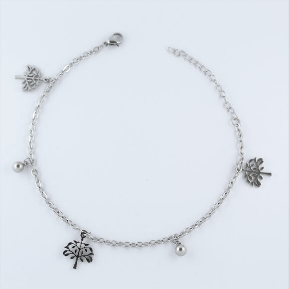 Stainless Steel Tree and Ball Anklet