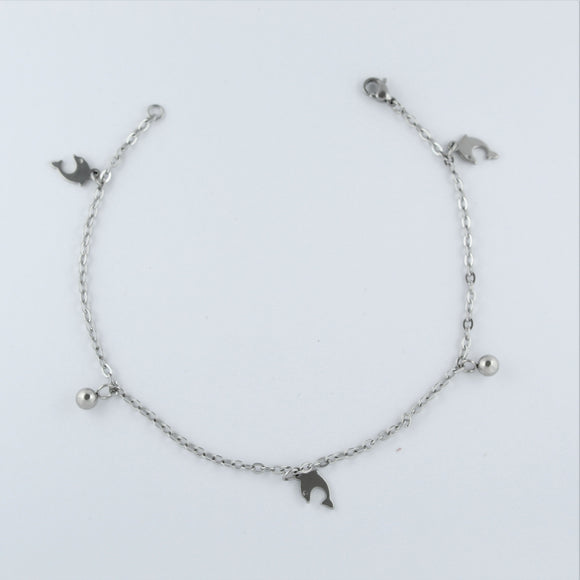 Stainless Steel Dolphin and Ball Charm Anklet