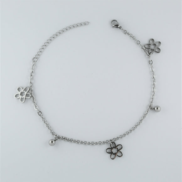 Stainless Steel Flower and Ball Anklet