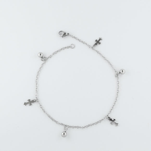 Stainless Steel Cross and Ball Charm Anklet
