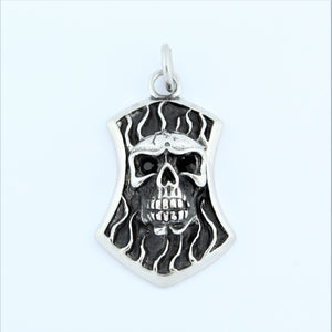 Stainless Steel Skull Plaque With Black Eyes Pendant
