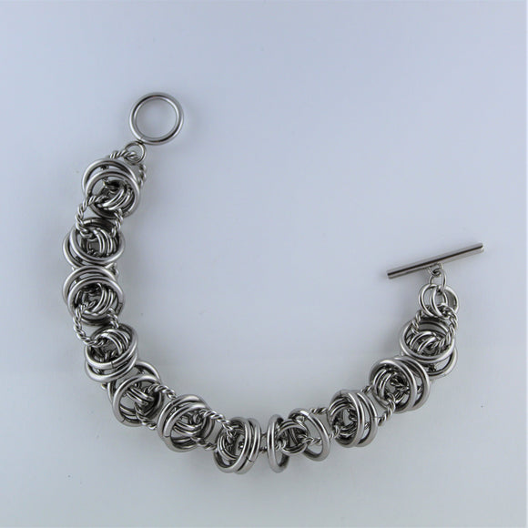 Stainless Steel Multi Ring Bracelet with Fob