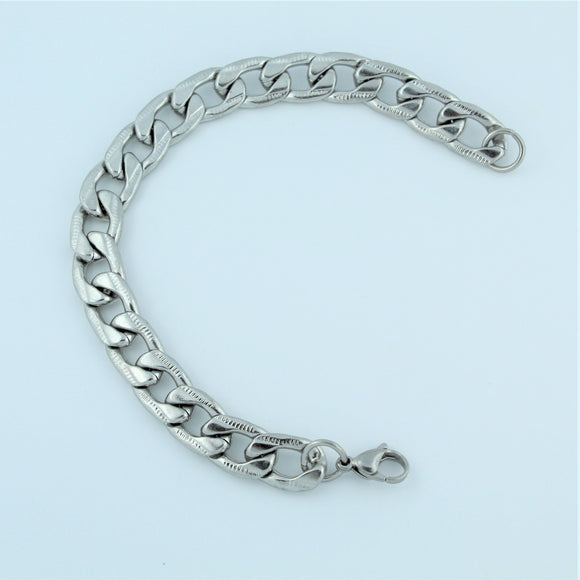 Stainless Steel Etched Flat Curb Bracelet