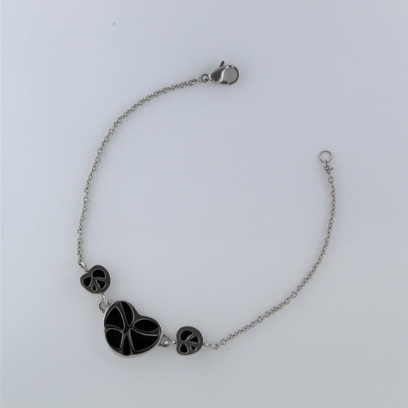 Stainless Steel 3x Black Heart Bracelet