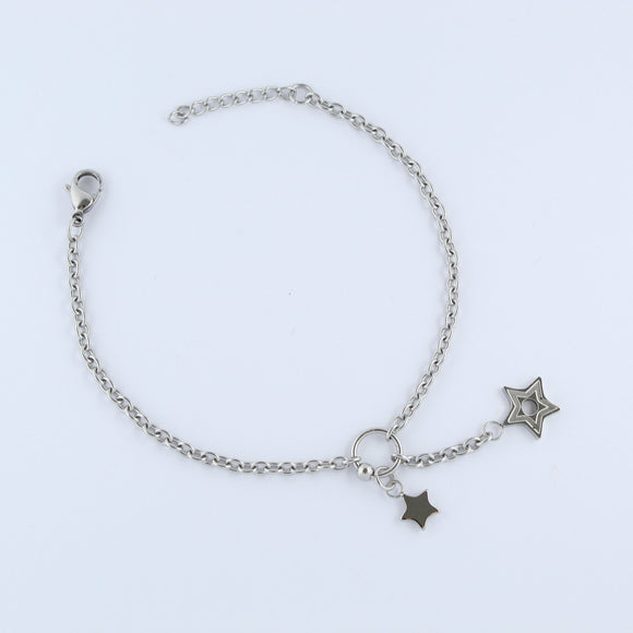 Stainless Steel Double Star Drop Bracelet