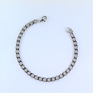 Stainless Steel Flat Curb Bracelet