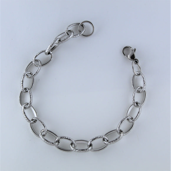 Stainless Steel Engraved Oval Bracelet