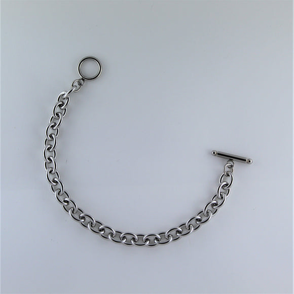 Stainless Steel Oval Bracelet with Fob