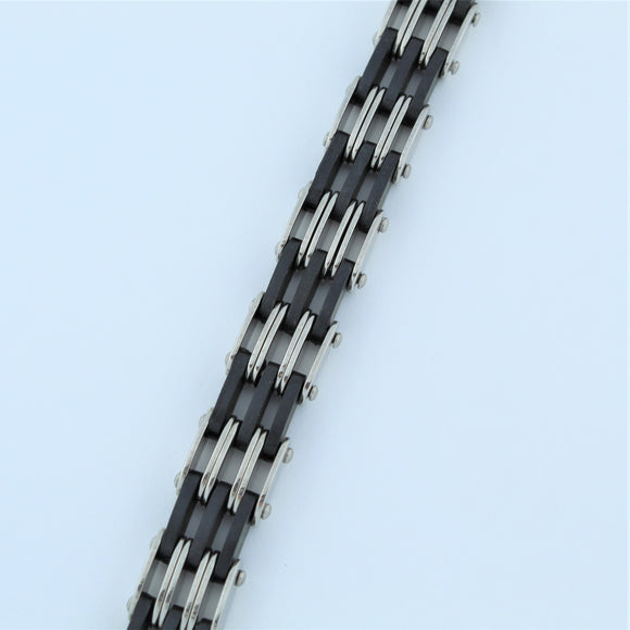 Stainless Steel Rubber and Stainless Steel Gate Bracelet