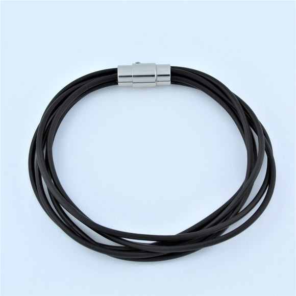 Stainless Steel Multi Strand Black Rubber Bracelet