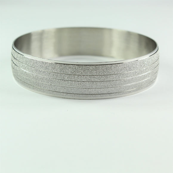 Stainless Steel Multi Sandblast Striped Bangle
