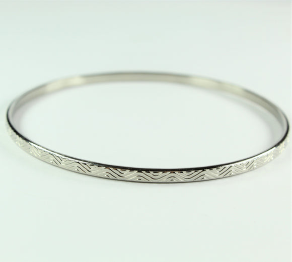 Stainless Steel Thin Wavy Bangle