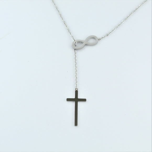 Stainless Steel Infinity/Cross Lariat 45cm