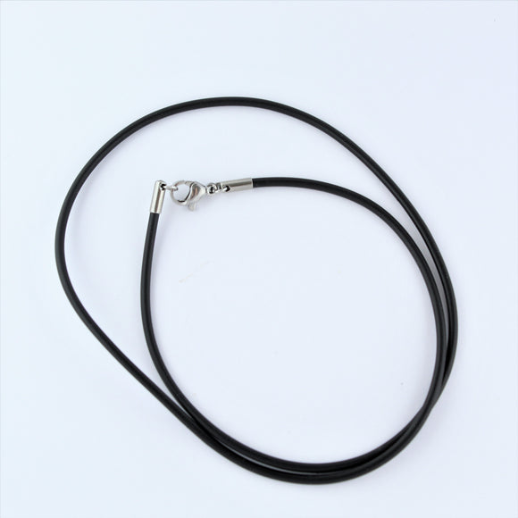 Stainless Steel Black Rubber Cord 45cm
