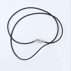 Stainless Steel Black Rubber Cord 50cm
