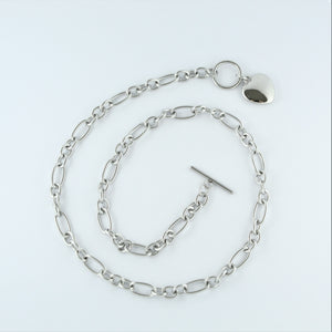 Stainless Steel Solid Heart Fob Chain 50cm