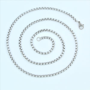 Stainless Steel Round Box Chain 55cm