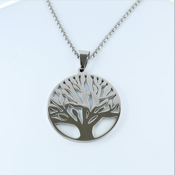 Stainless Steel Tree Of Life Necklace with White Shell 80cm