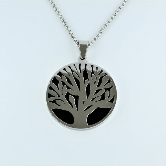 Stainless Steel Tree Of Life Necklace with Black 80cm