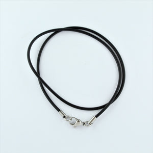 Stainless Steel Black Rubber Cord 40cm